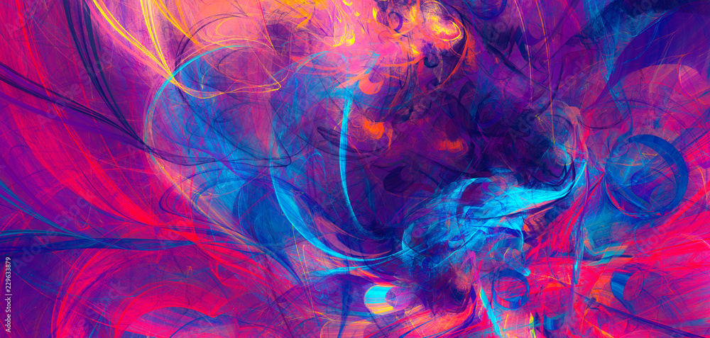 Fototapety, obrazy: Bright artistic splashes. Abstract painting color texture. Modern futuristic pattern. Dynamic bright multicolor background. Fractal artwork for creative graphic design