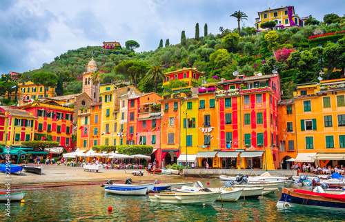 Fotografie, Obraz Beautiful bay with colorful houses in Portofino,  Liguria, Italy