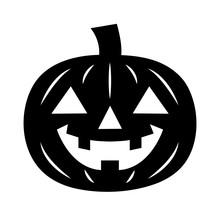Simple, Flat Jack-o'-lantern Icon. Black Silhouette. Isolated On White