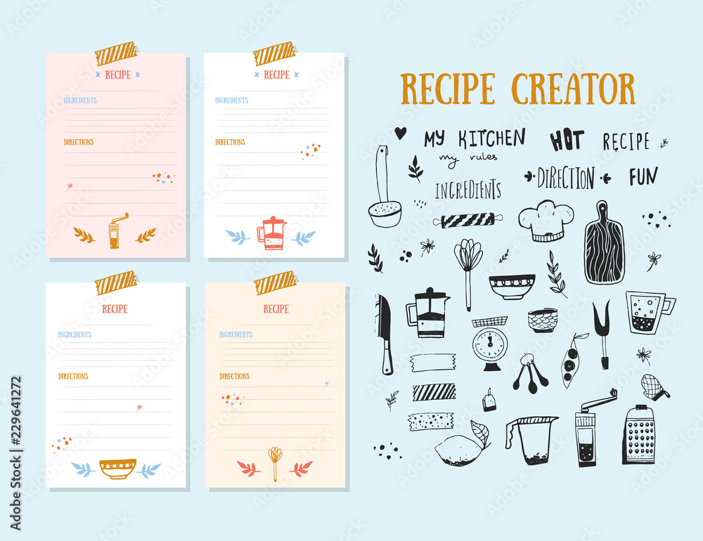 Fototapety, obrazy: Modern Recipe card template set for cookbook. Menu Creator Vector Illustration