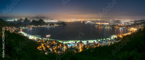 Panoramic Night View of Niteroi and Rio de Janeiro From the City Park