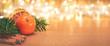 Weihnachten Hintergrund mit Lichtern und Orangen