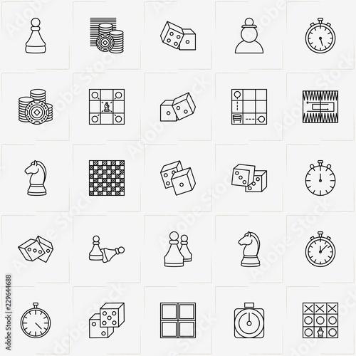 Slika na platnu Chess & Backgammon line icon set with chess board, chess board tactics and backg