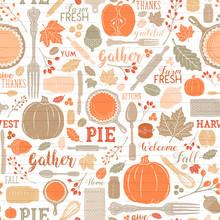 Seamless Vector Shiplap Autumn Leaves & Pumpkin Apple Pie Baking Pattern In Warm Bright Fall Colors