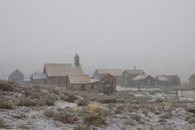 Cold Winter Weather Gathers Over An Abandoned Mining Town In Sierra Nevada.
