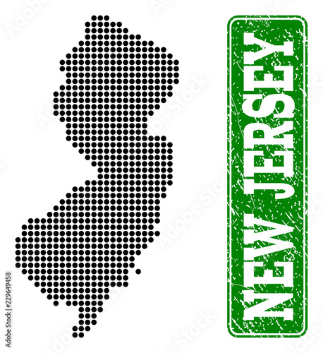 Dotted map of New Jersey State and rubber caption  Vector