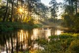 Fototapeta Fototapety do łazienki - Rzeka Rawka, Jesienny świt nad rzeką