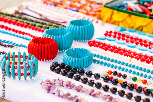 Fotobehang Zuid-Amerika land Street sell of Colombian typical handicrafts in the walled city in Cartagena de Indias