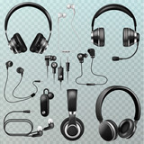Headphones vector headset and earphones stereo technology and audio dj equipment illustration set of realistic headgear digital gadget to listen to music isolated on transparent background
