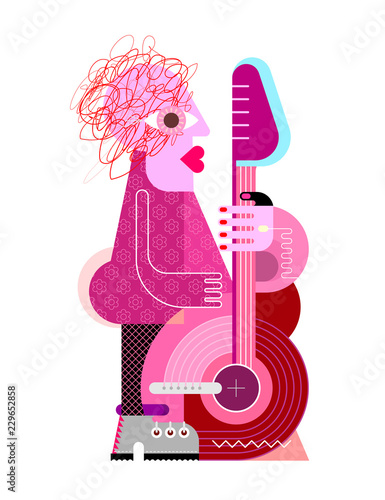 Poster Abstractie Art Woman Playing the Guitar