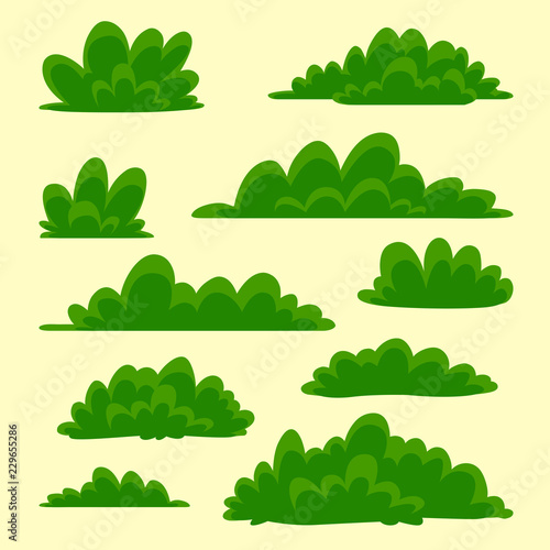 vector cartoon hand drawn grass bush isolated illustration collection set Wallpaper Mural
