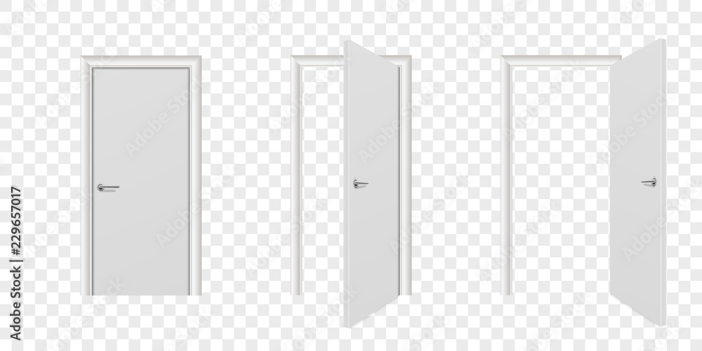 Fototapety, obrazy: Vector Realistic Different Opened and Closed White Wooden Door Icon Set Closeup Isolated on Transparent Background. Elements of Architecture. Design Template of Modern Door for Graphics. Front View