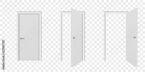 Fotografie, Obraz  Vector Realistic Different Opened and Closed White Wooden Door Icon Set Closeup Isolated on Transparent Background