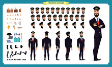Pilot Character Creation Set.Icons With Different Types Of Faces And Hair Style, Emotions,front,rear,side View Of Male Person.Moving Arms,legs.Vector Illustration Isolated