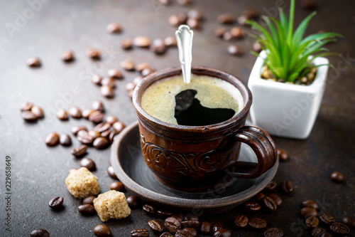 Wall Murals Cafe Black coffee on old background