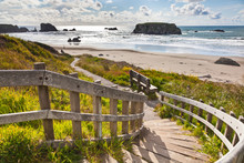 Wooden Staircase Leading To Bandon Beach, Oregon, USA