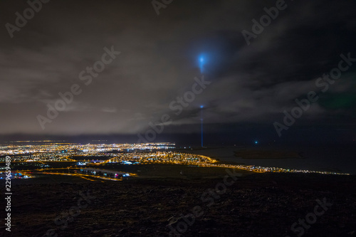 Photo  View over Reykjavik and the Peace Tower in Iceland