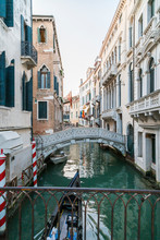 Italy, Venice, Canal With Brid...