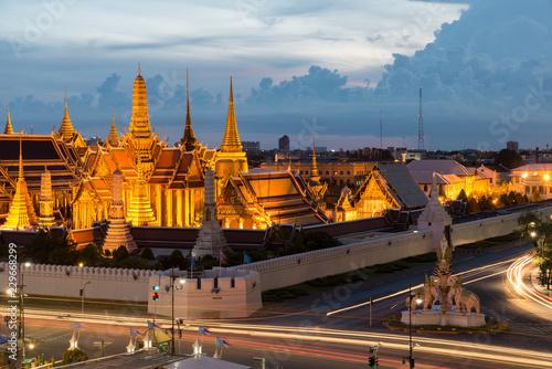 Aluminium Prints Bangkok Wat phra keaw at night in Bangkok, Thailand.