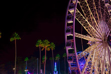Pomona, California USA - September 23rd, 2018. Ferris Wheel In LA Country Fair Is The Most Attractive One With Illuminated Light.