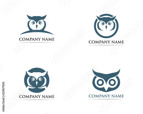 Spoed Foto op Canvas Uilen cartoon Owl logo bird vector illustrator