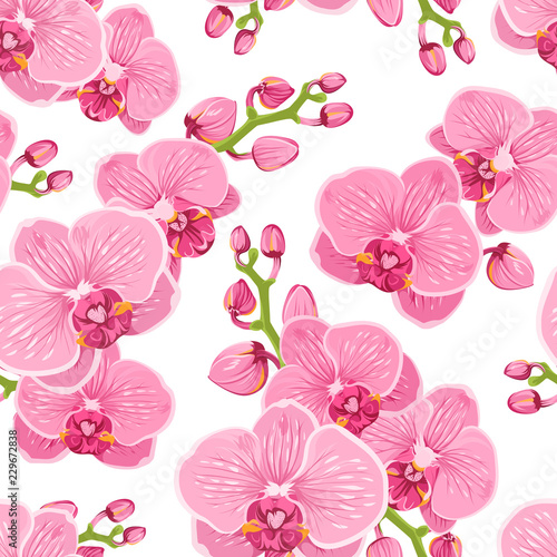 Fotografie, Obraz Seamless floral pattern with bright pink purple orchid phalaenopsis on white background