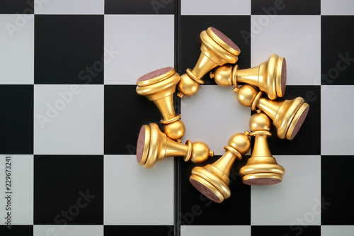 Fotografie, Obraz  Chess board game idea of management strategy without leadership concept