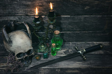 Magic Table Background. Witchcraft Concept.
