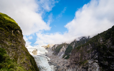 Panorama view, Fraz josef Glacier among the mountain view form Roberts Point Track. West coast, New Zealand.