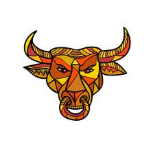 Texas Longhorn Bull Color Mosaic
