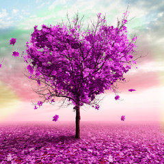 Fototapeta3D illustration - Autumn tree in the shape of a heart, purple color