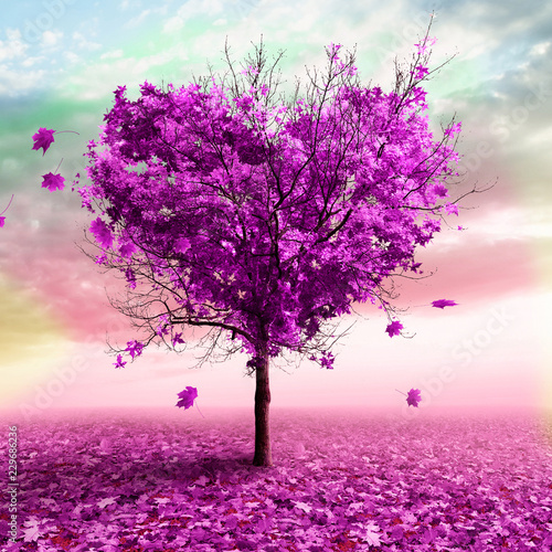 Poster Rose clair / pale 3D illustration - Autumn tree in the shape of a heart, purple color