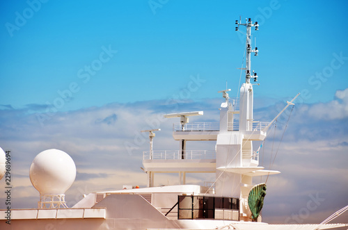 antennas and radar of a luxury yacht