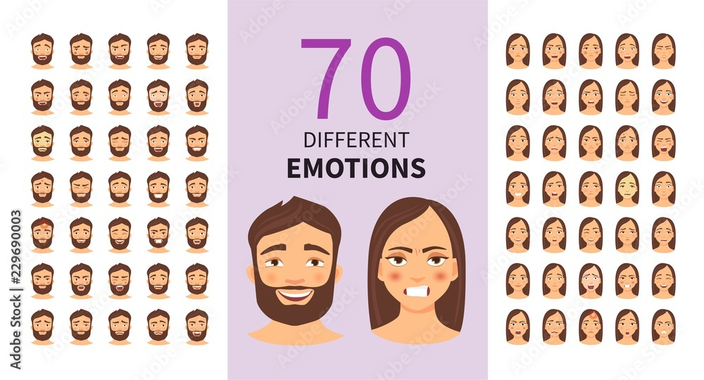 Fototapeta Vector set of cartoon characters with different emotions. Young man and woman.