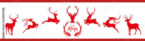 Valokuvatapetti Christmas reindeer set