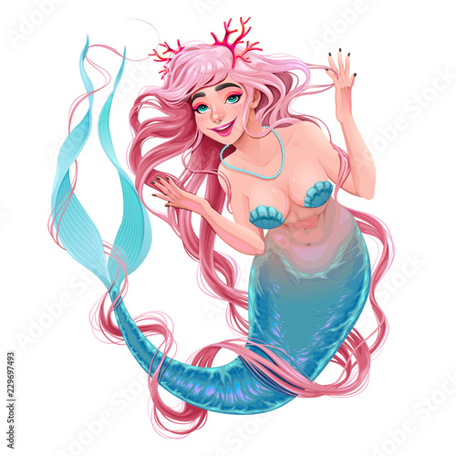 Smiling mermaid with long hair