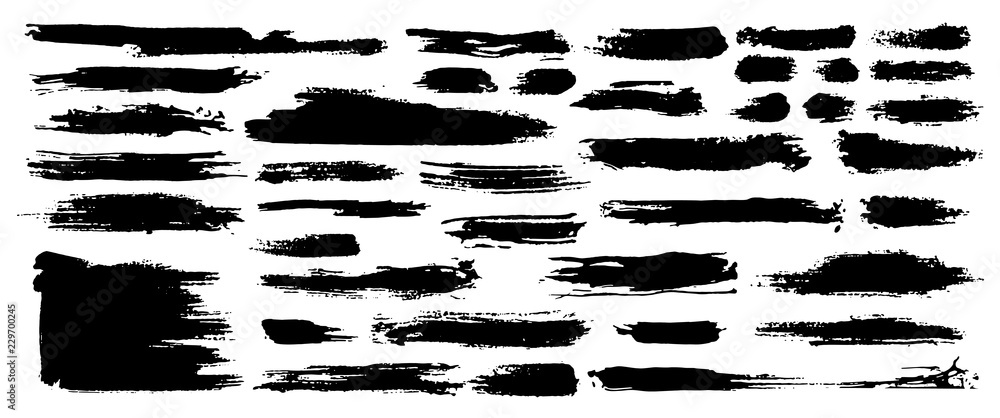 Fototapety, obrazy: Set of black paint, ink, grunge, dirty brush strokes. Dirty artistic design element, box, frame or background for text. Isolated on white background. Vector set of grunge brush strokes.
