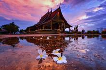 Sirindhorn Wararam Phu Prao Temple (Wat Phu Prao) At Sunset, Ubon Ratchathani, Thailand