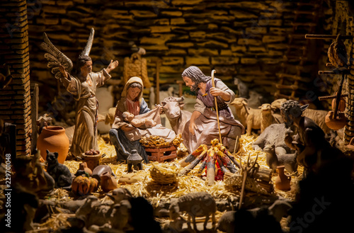 Pesebre de navidad de José , María y Jesús