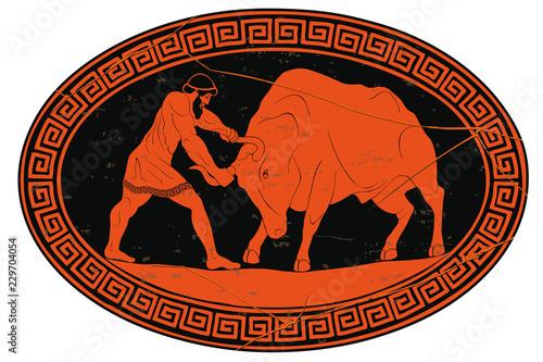 Fotografia, Obraz  Hercules tames the Cretan bull