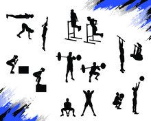 Athlete Silhouettes Doing Different Crossfit Exercises And Working Out Isolated On White. Burpee, Front Squat, Toes To Bar, Box Jump, Wallball, Kettlebell Sumo Pull, Dips. Vector For Web And Print.