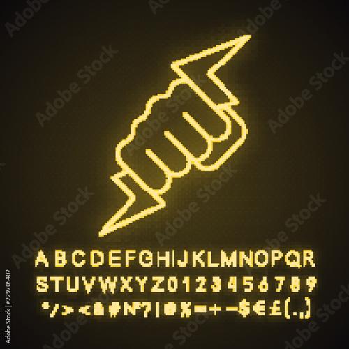 Hand holding lightning bolt neon light icon Fototapet