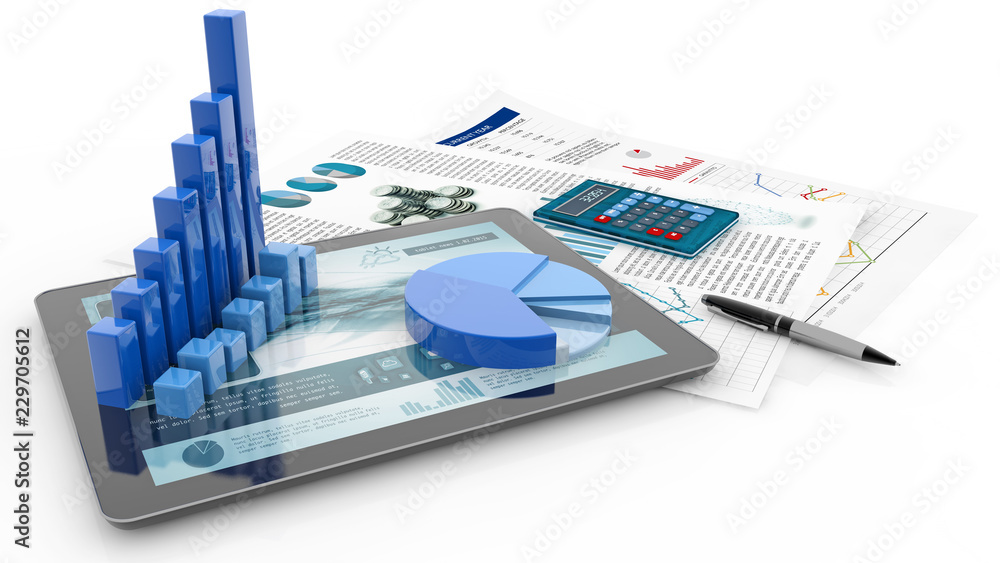 Fototapeta bar graph, tablet and report paper isolated on white