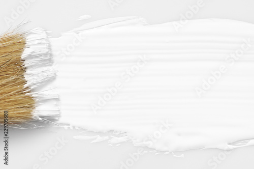 Fototapeta White paint stroke and brush obraz
