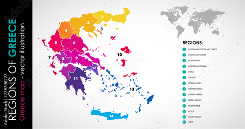 Vector map of Greece regions beautiful colours – kaufen Sie ...