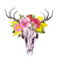 Deer Animal Skull With Autumn Leaves, Flowers. Watercolor In Vintage Boho Style