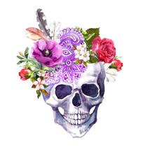 Human Skull - Flowers, Ethnic ...