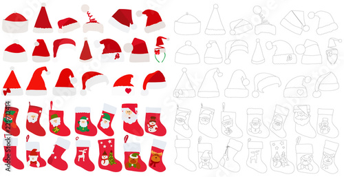 Fotografie, Obraz vector, isolated, set of red socks for gifts and Santa Claus hats