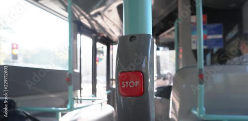 Papiers peints Rouge, noir, blanc Red push button to stop a bus