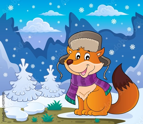 In de dag Voor kinderen Winter fox theme image 2